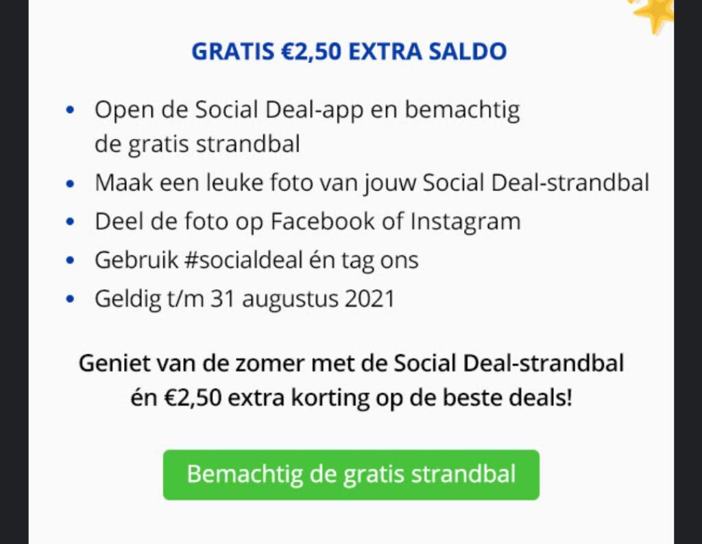 Gratis €2,50 saldo door het delen van een foto met SocialDeal-strandbal