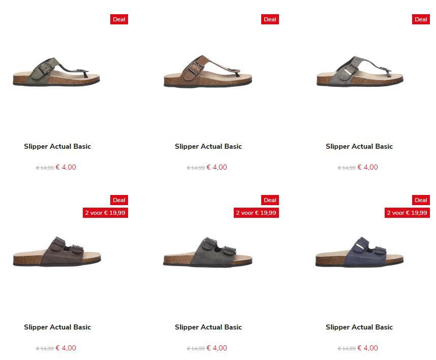 Heren slippers leren voetbed van €14,99 voor €4 @ Bristol