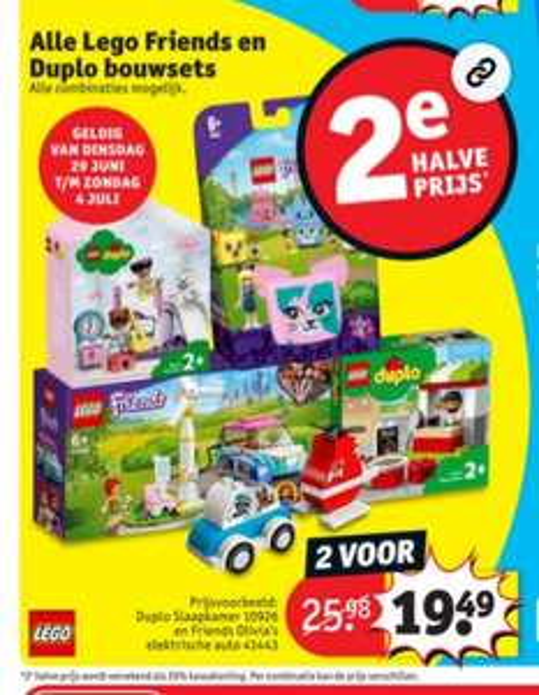 Lego Friends Lego Duplo bouwsets 2e halve prijs bij Kruidvat
