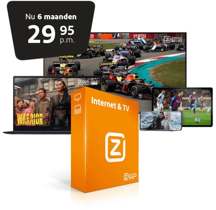 Tijdelijk 6 maanden Ziggo voor €29,95 p.m. + gratis tv-pakket en geen aansluitkosten