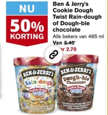 Hoogvliet 50 procent korting op Ben & Jerry's Cookie Dough Twist Rain-dough of Dough-ble chocolate Alle bekers van 465 ml