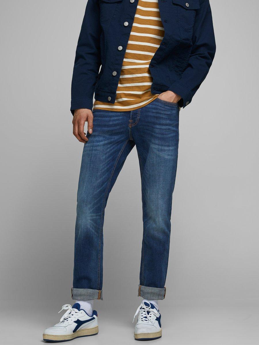 Jack & Jones jeans TIM ORIGINAL AM 782 slim/straight fit, donkerblauw