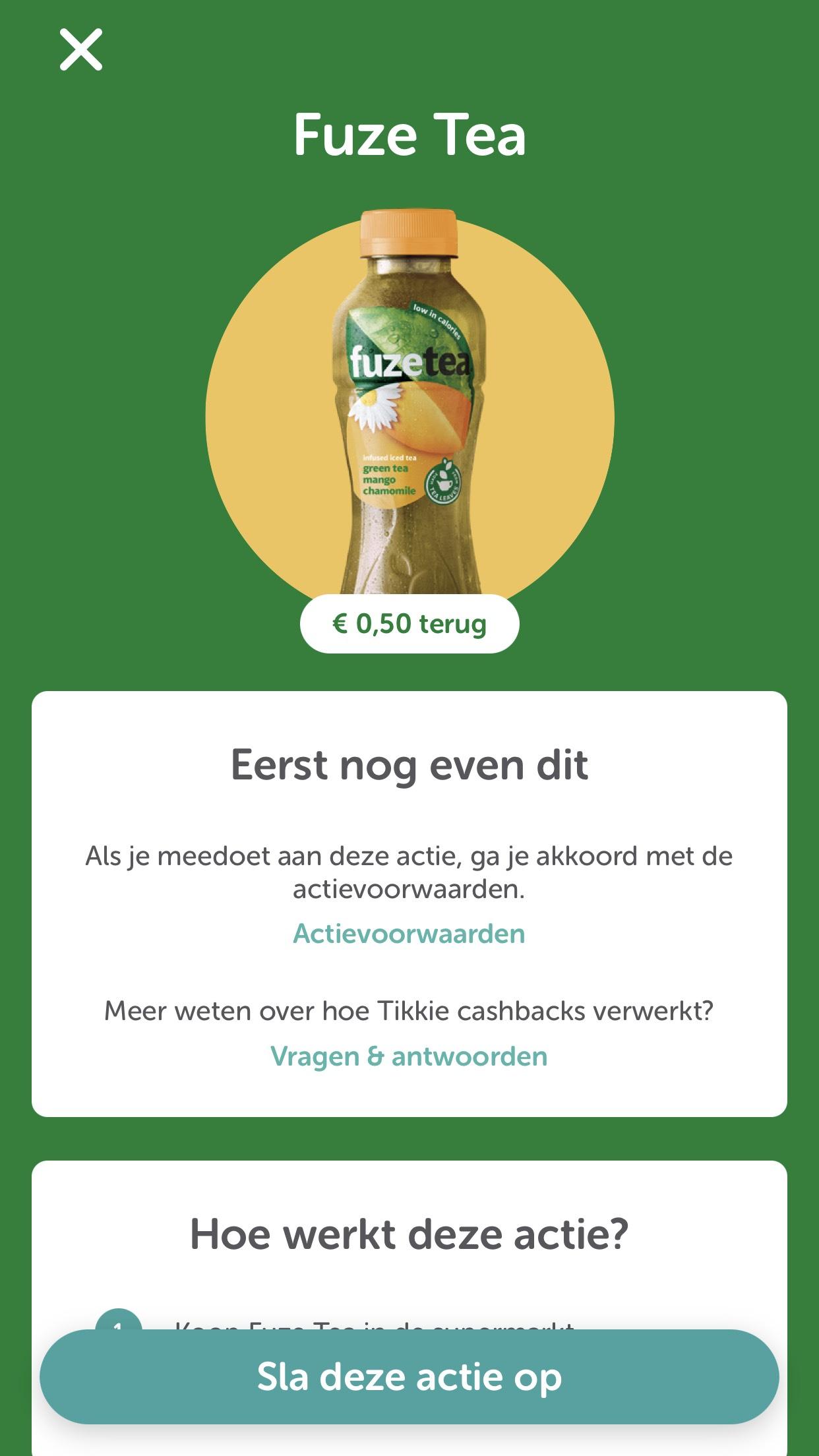 Fuze tea tikkie €0,50 cashback