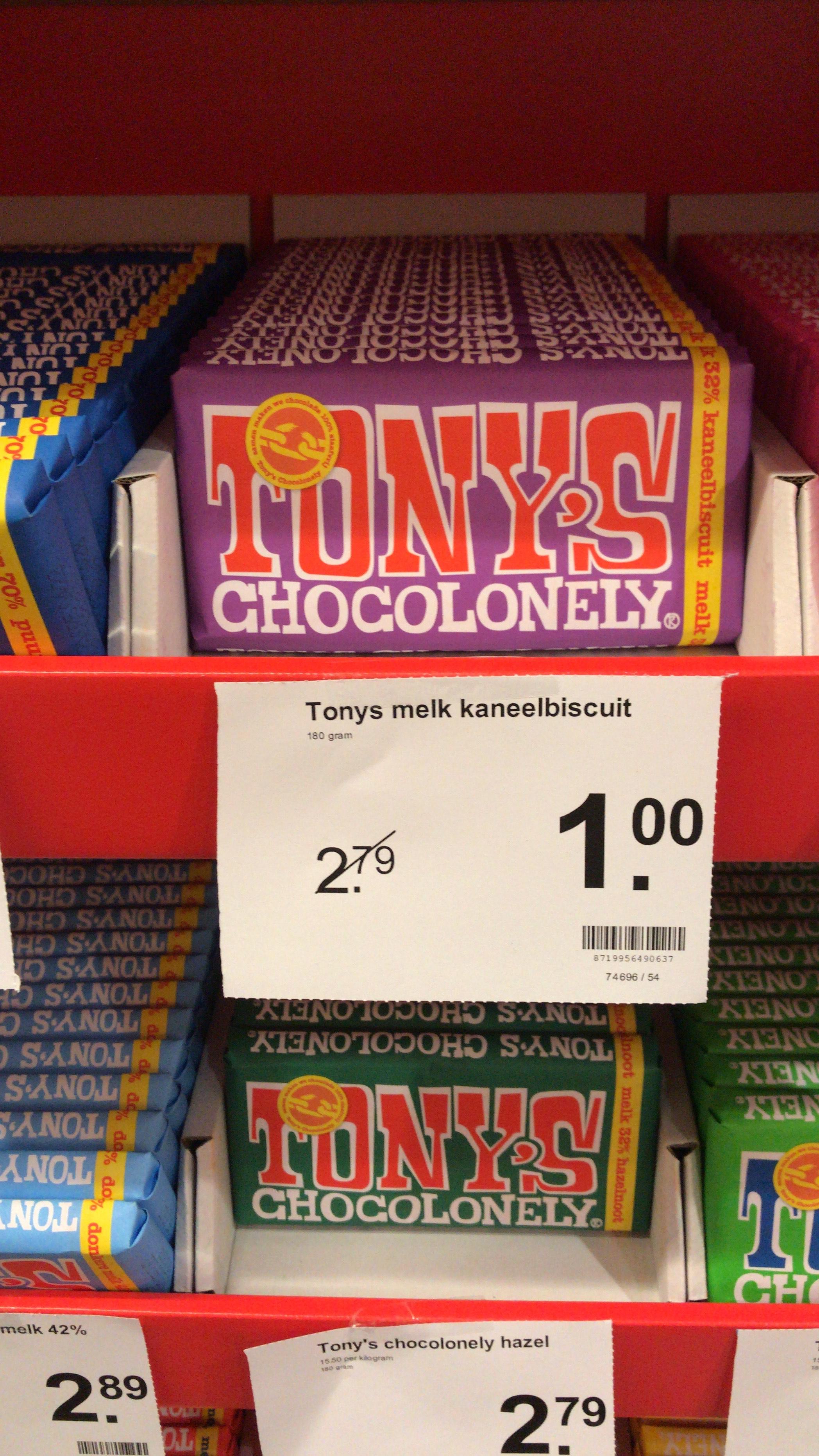 [Lokaal?] Tony's Chocolonely melk kaneelbiscuit bij AH Daalseweg