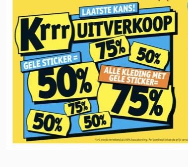 Kruidvat uitverkoop/opruiming! 50% extra korting [gele sticker actie!!] kleding 75% korting vanaf 19 juli