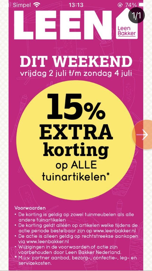 15% extra korting op tuinartikelen