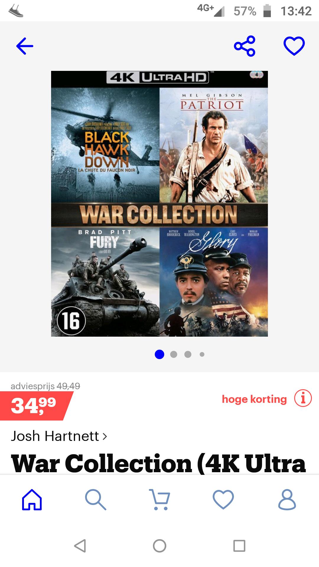 Films: Black Hawk Down, Fury, The Patriot & Glory (4k)