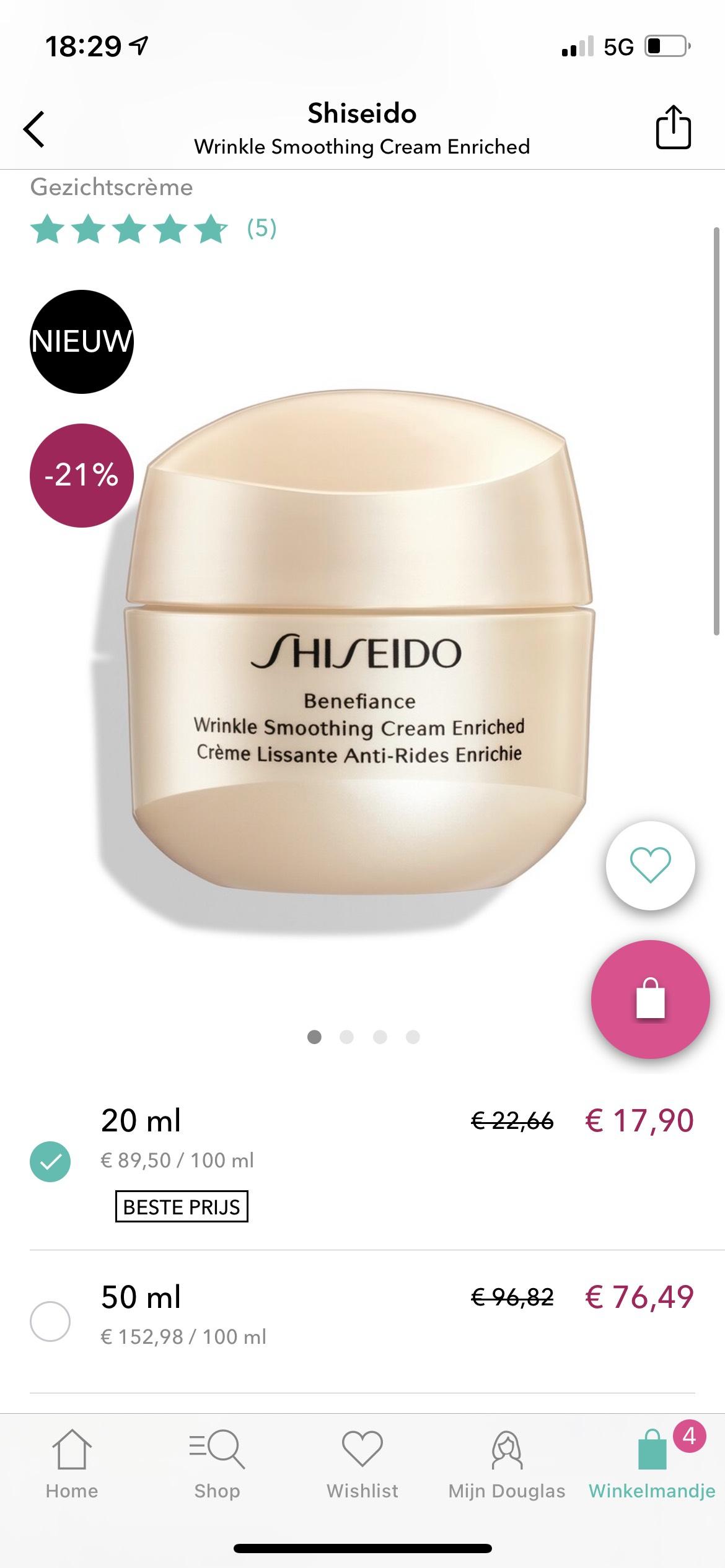 Aanbieding dure Shiseido dag creme 20ml