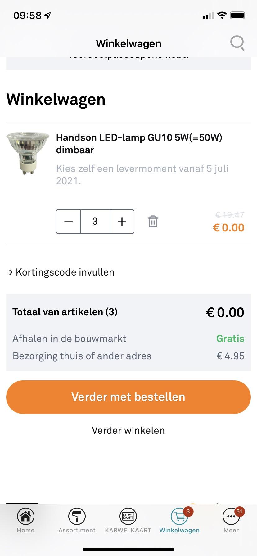 Prijsfout Handson LED-lamp GU10 5W(=50W) dimbaar