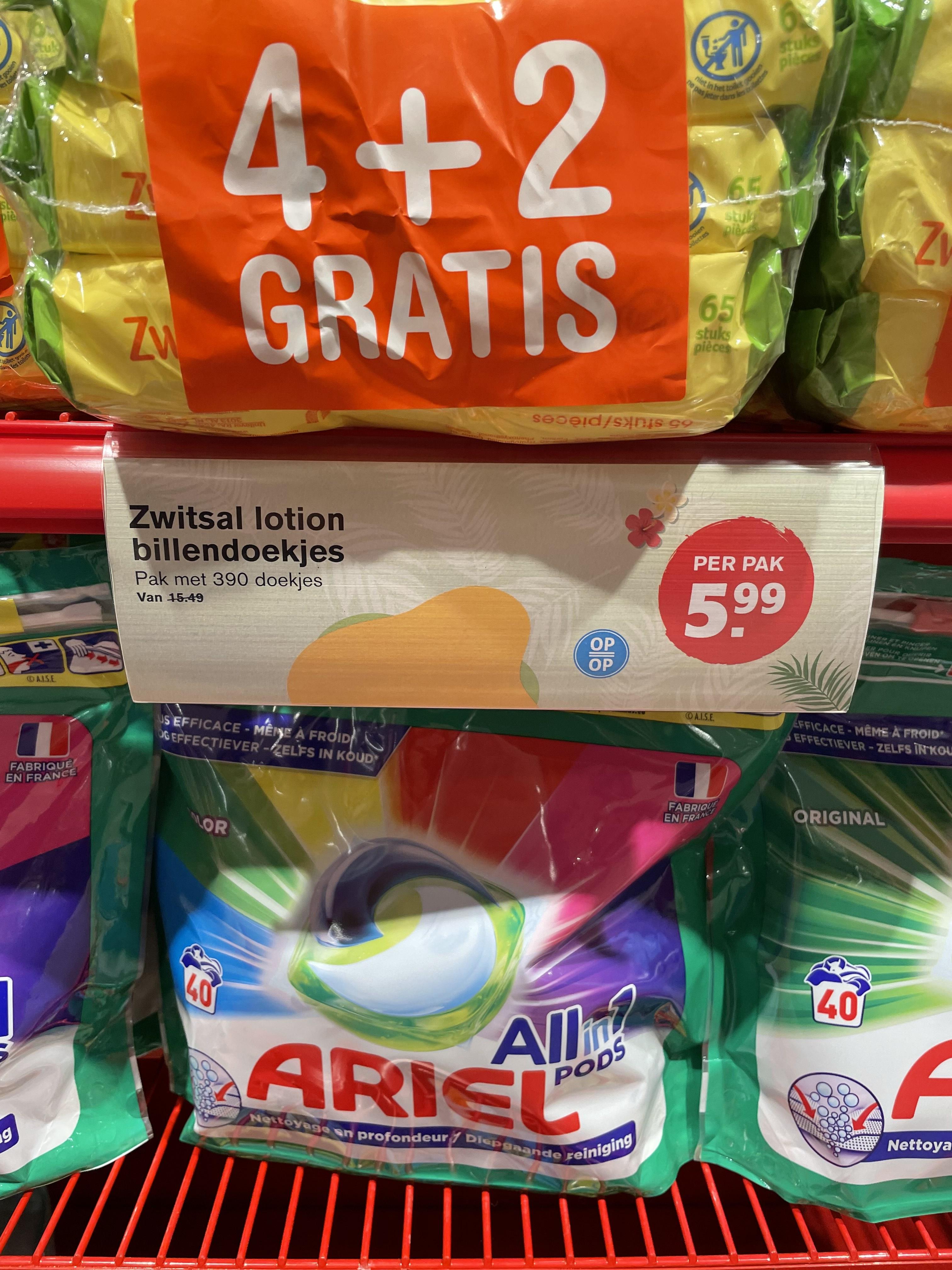 [LOKAAL?] 6 pakken Zwitsal lotion billendoekjes voor € 5,99 bij Hoogvliet