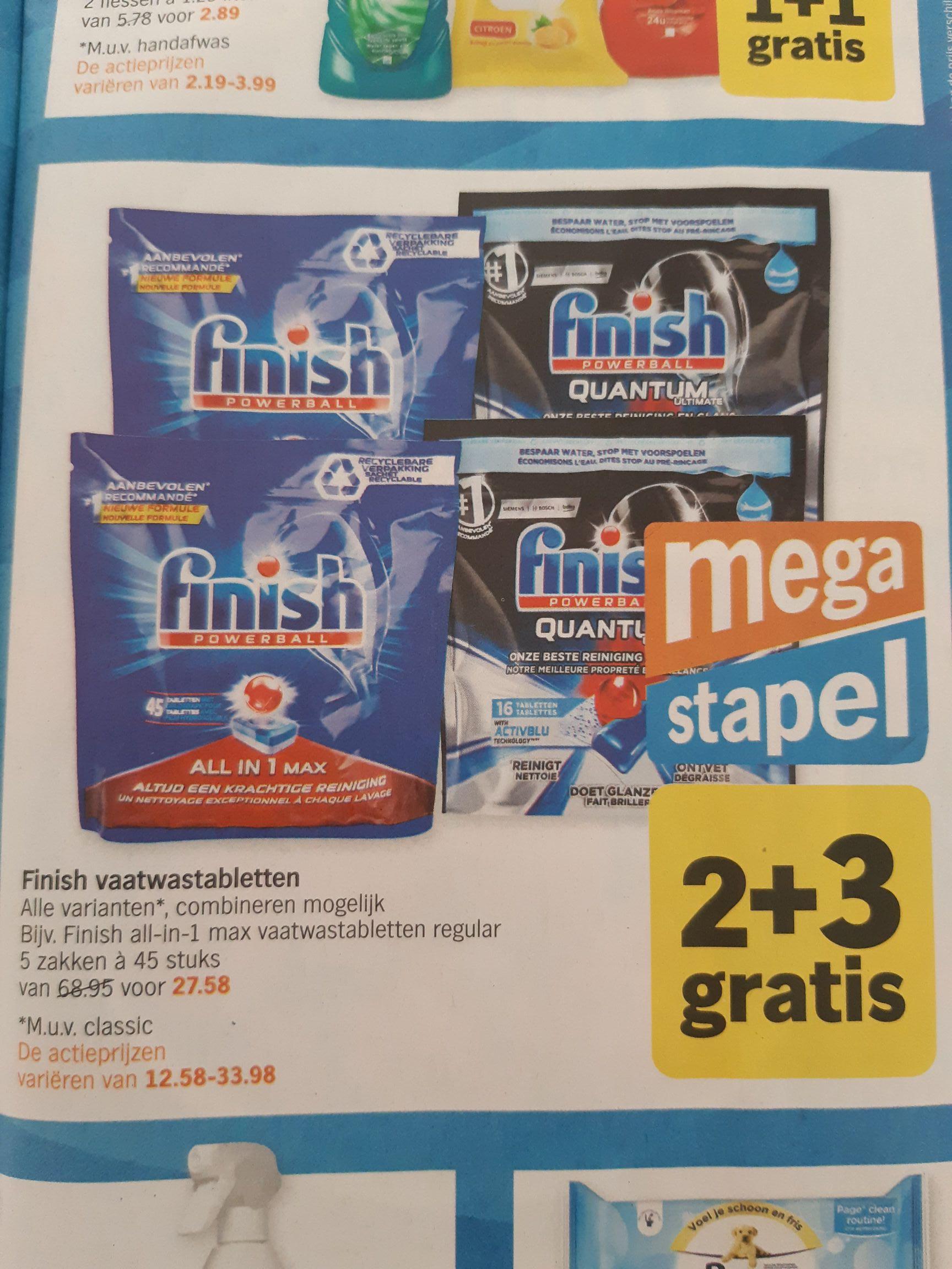 Finish vaatwastabletten 2 + 3 gratis bij Albert Heijn