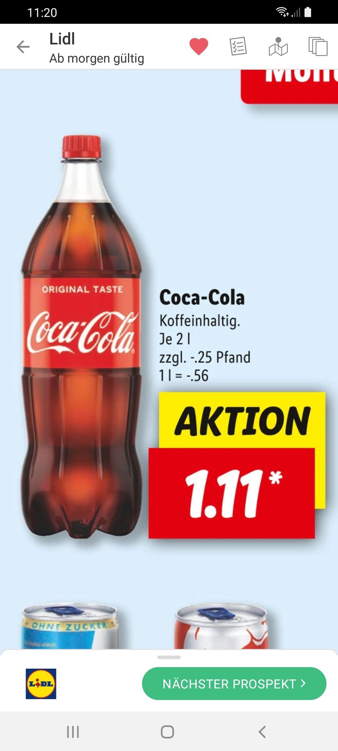 Grensdeal Coca-Cola Regular 2 liter voor 1,11ct
