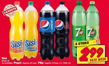 4 flessen Pepsi/7up/Sisi voor €2,99 @Nettorama