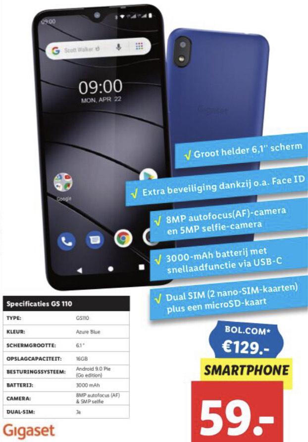 Gigaset GS110 Smartphone (16GB / DualSim + MicroSD kaart ) €59 @ Lidl