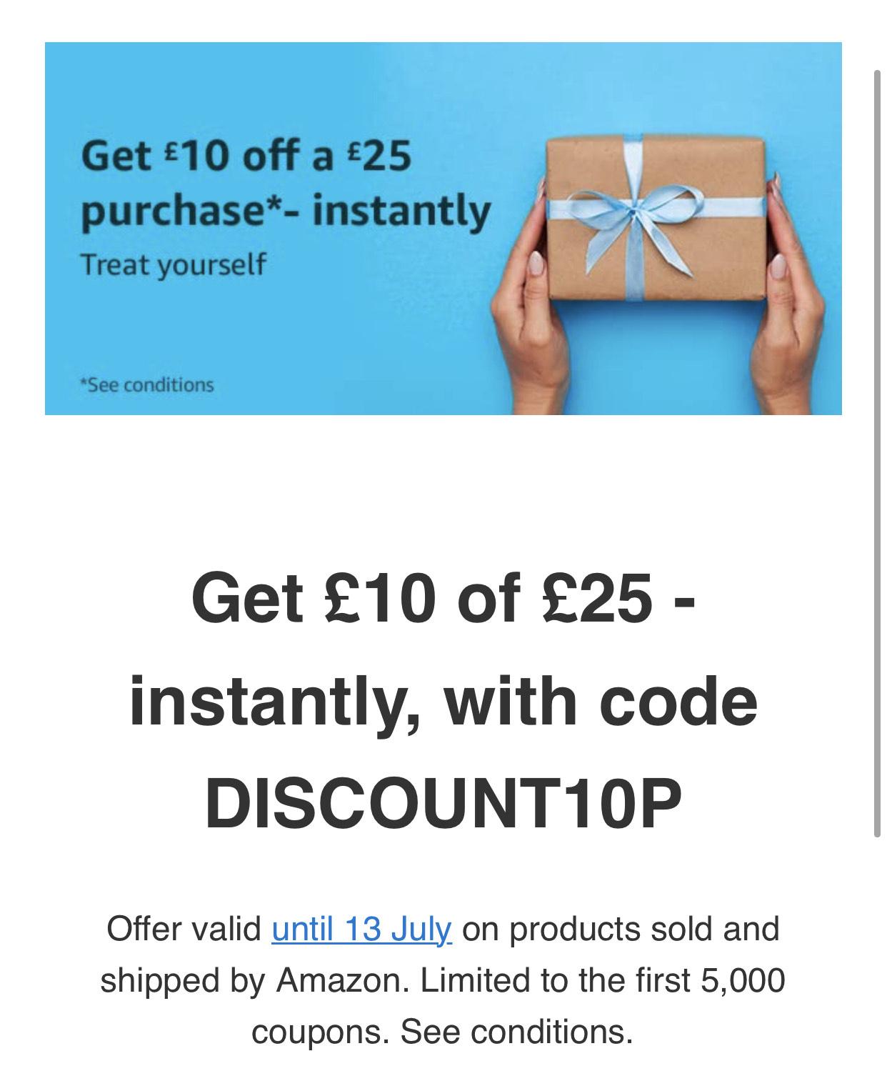 Amazon UK 10 pond korting bij 25 pond besteden