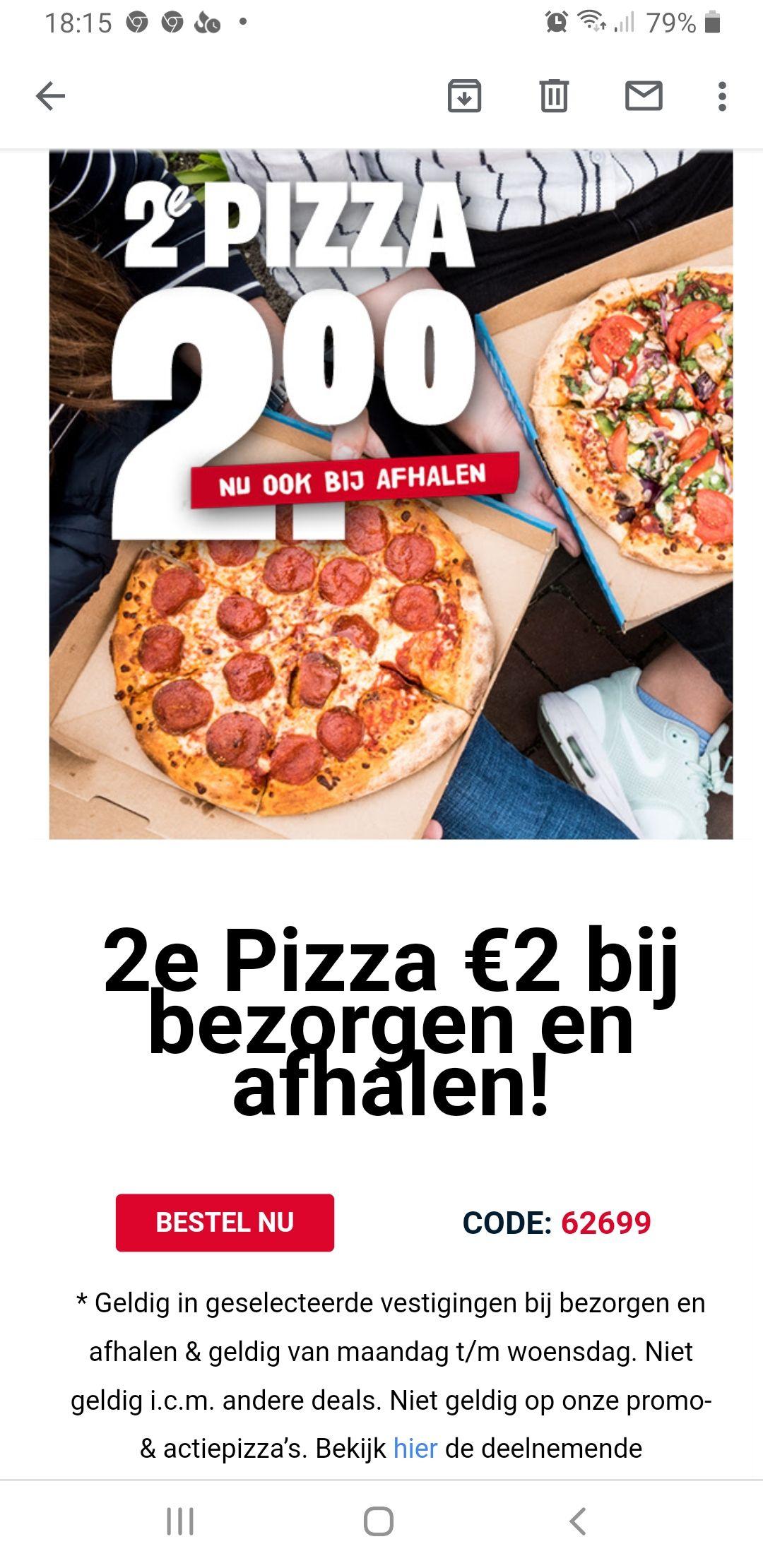 2e Pizza €2 bij bezorgen en afhalen @Domino's