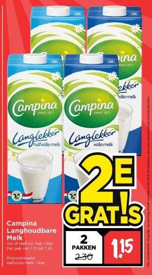 Campina langhoudbare halfvolle melk 1 liter 2e gratis VOMAR