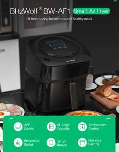 BlitzWolf®BW-AF1 Smart Air Fryer with APP Control, 6L Large Capacity