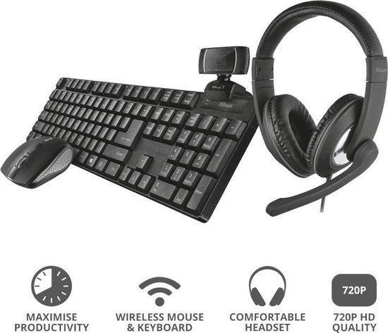 Trust Qoby 4-in-1 bundel (toetsenbord, muis, headset en webcam)
