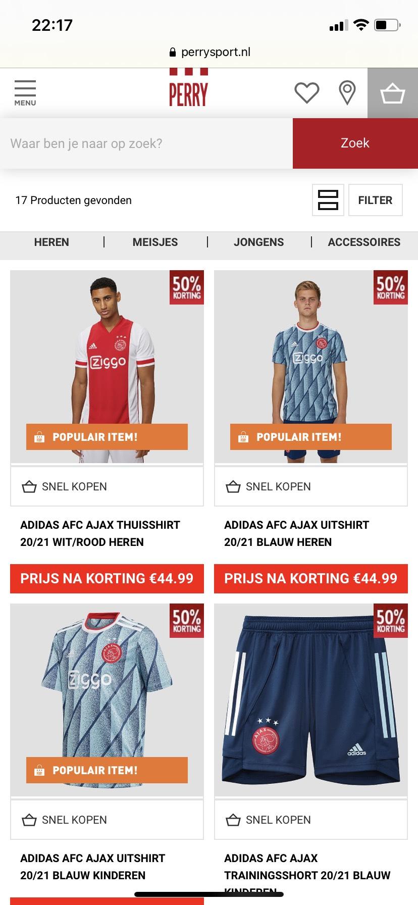 Ajax 20/21 kleding met 50% korting!