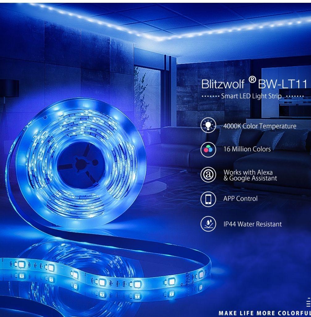 BlitzWolf® BW-LT11 5M Smart APP Control RGBW LED Light Strip Kit/Christmas lights Works With Amazon Alexa Google Assistant