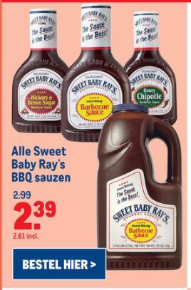 -20% Alle Sweet Baby Ray's barbecuesauzen 510ml/3790ml @ MakroNL