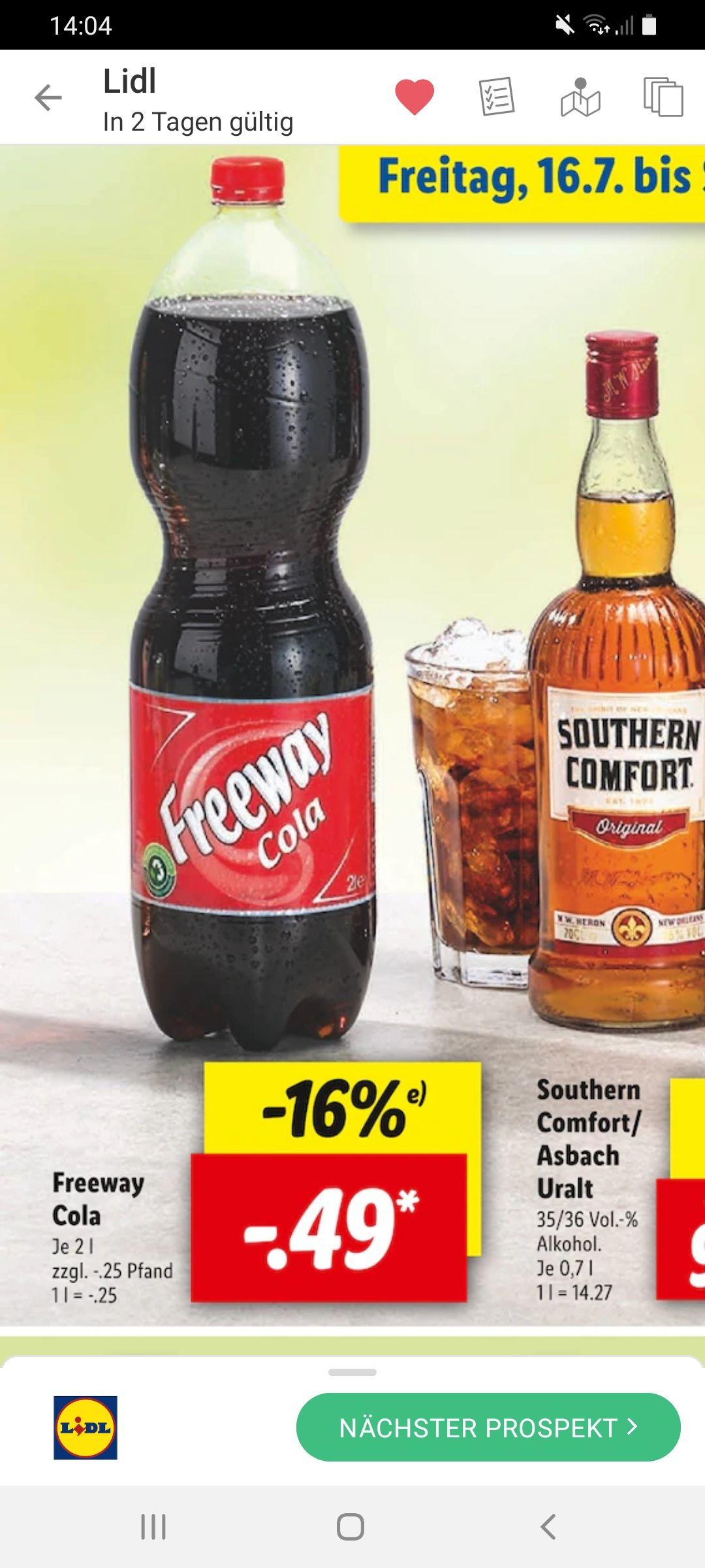 Grensdeal lidl duitsland cola cola zero 2 liters