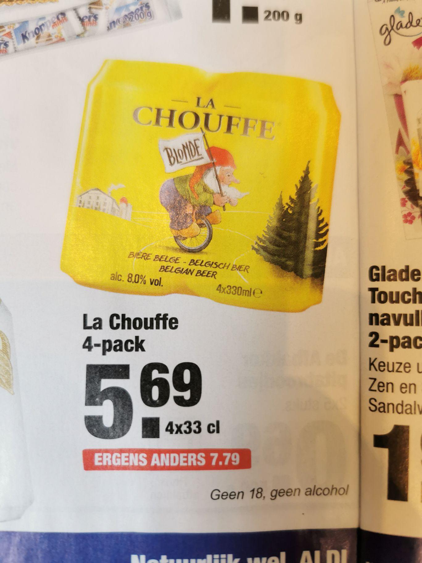Aldi: La Chouffe in blik 4-pack 33cl