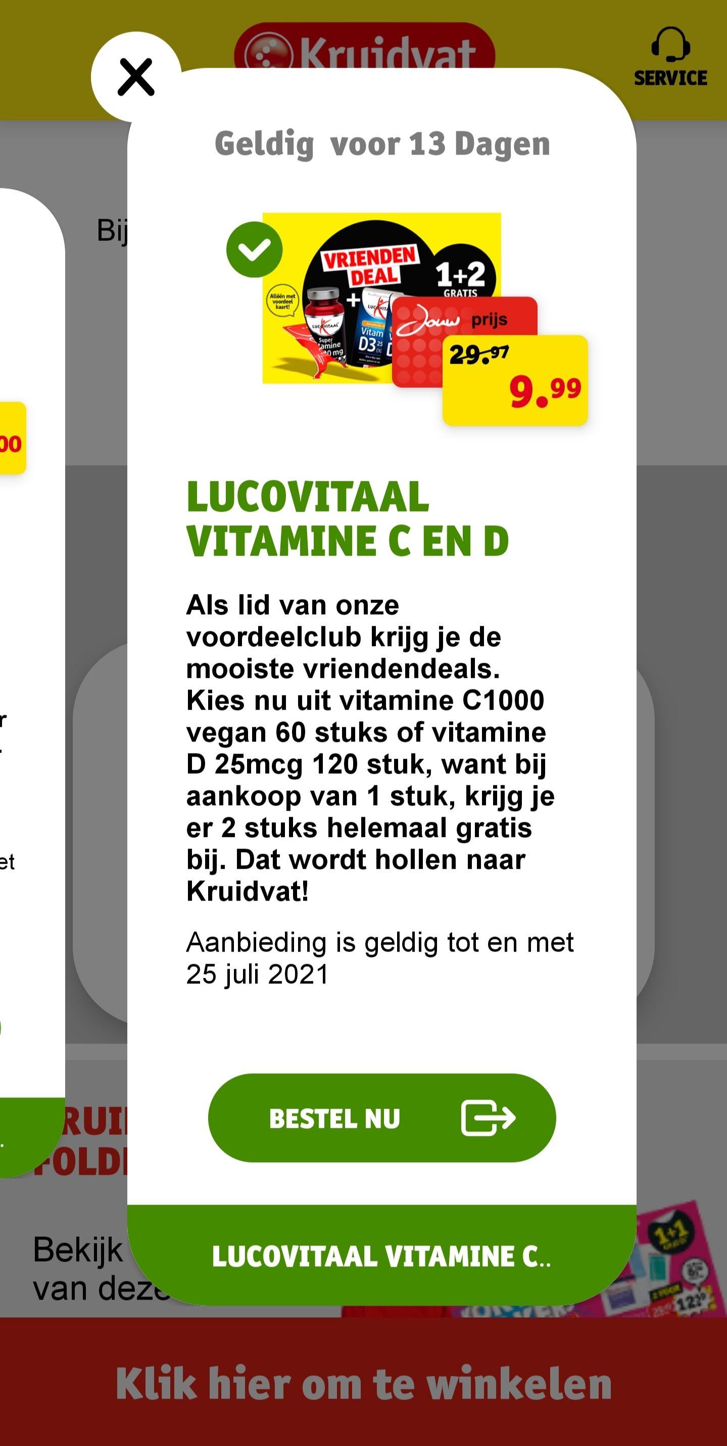 Lucovitaal vitamine C1000 en/of vitamine D, 3 halen 1 betalen @Kruidvat