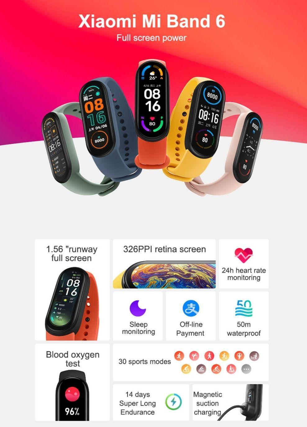 Xiaomi Mi Band 6 smart watch 5atm