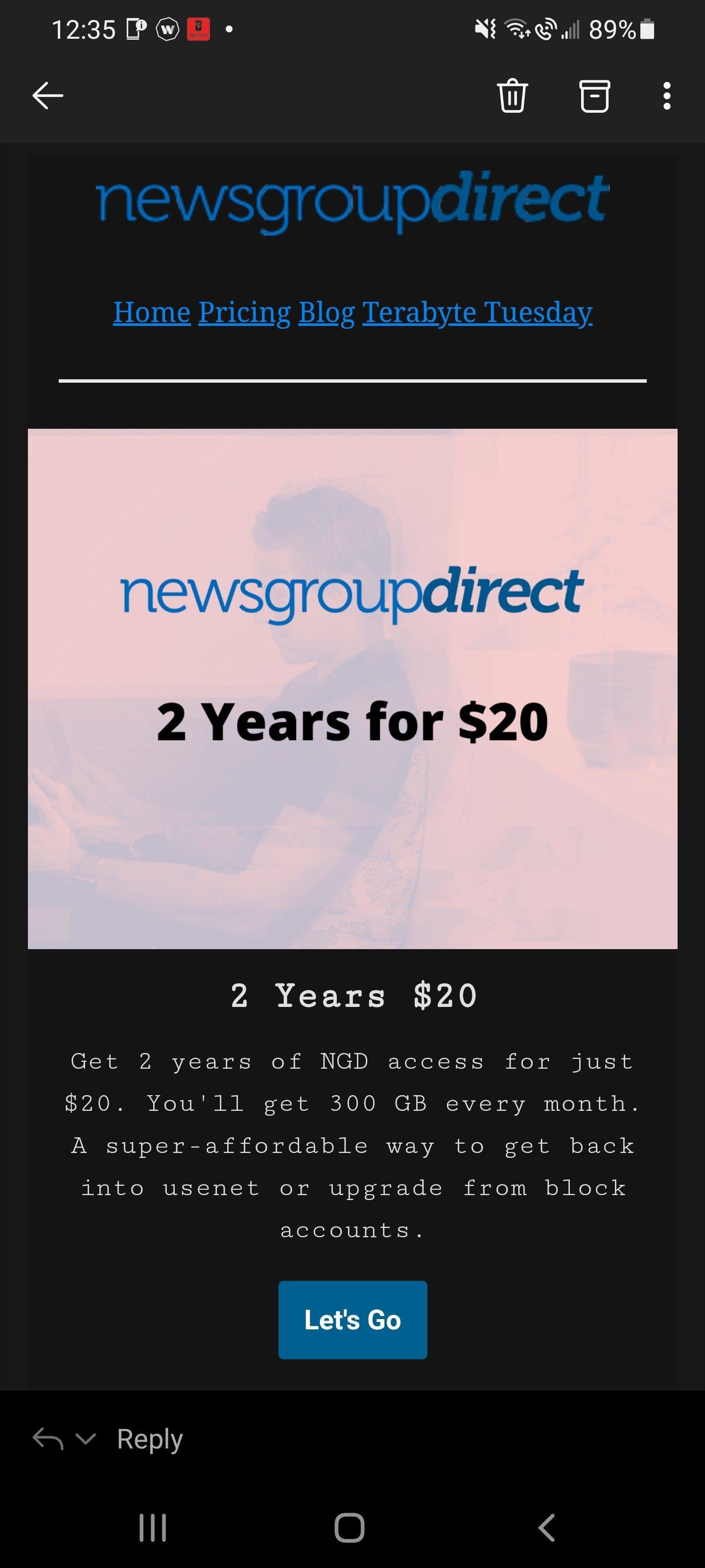 2 jaar usenet met 300 Gb per maand voor US $ 20 bij NewsgroupDirect