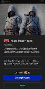Gratis Altair legacy outfit Assassin's Creed Valhalla