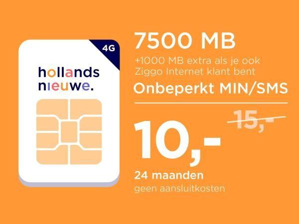 ING Punten: Hollandsnieuwe 2 jaar 7500 MB, onbeperkt bellen/SMS, geen aansluitkosten (+extra's voor Ziggo klanten)