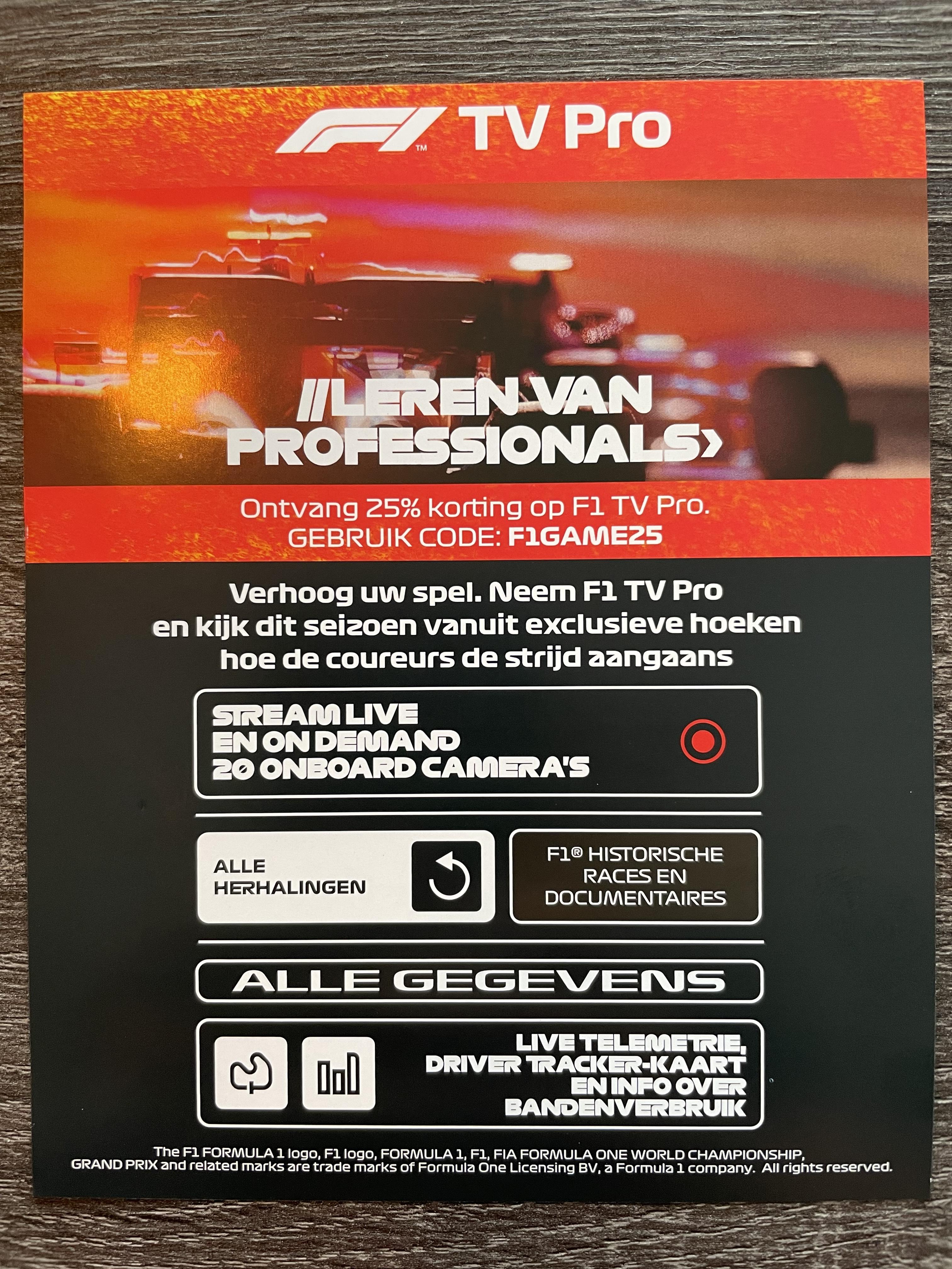 25% korting op F1 TV Pro