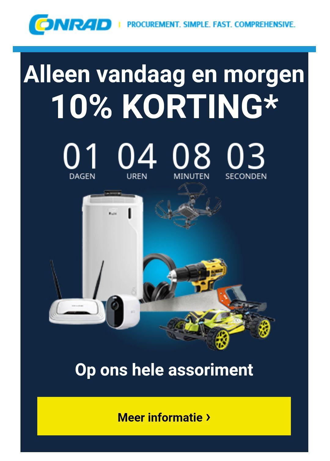 10% korting op bijna alles bij Conrad.nl