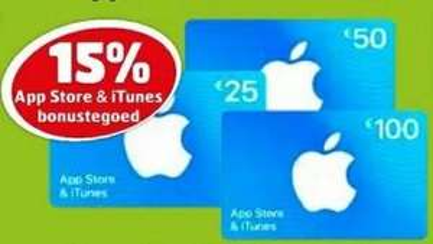 15% bonustegoed App Store & iTunes kaarten (niet online) @ Kruidvat + Trekpleister
