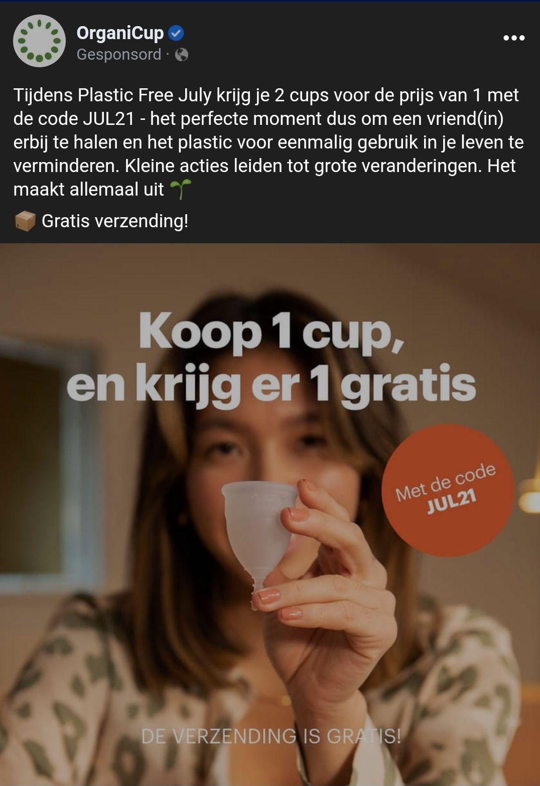 Organicup 1+1 gratis