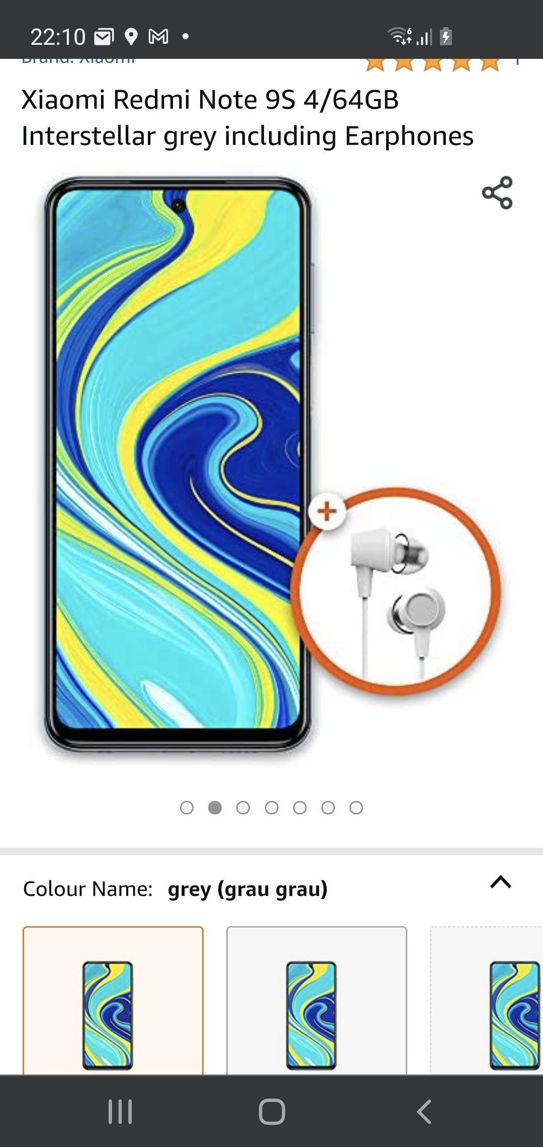Xiaomi note 9s 4gb 64gb met oordopjes @amazon.nl