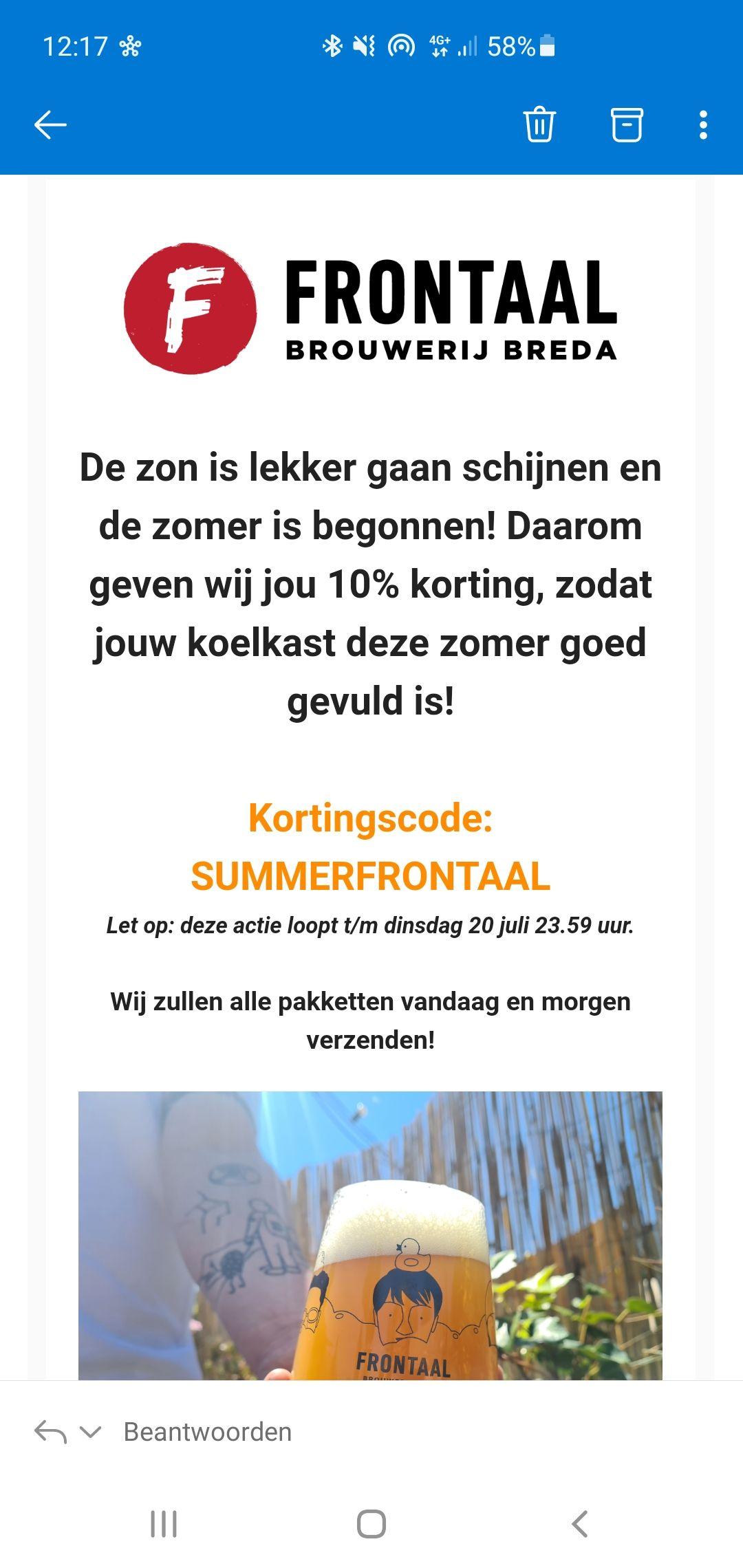 10% summer korting bij brouwerij Frontaal