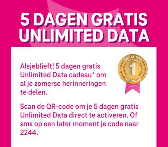 (Gratis) T-mobile 5 dagen gratis Unlimited Data cadeau (CHECK JE MAIL)