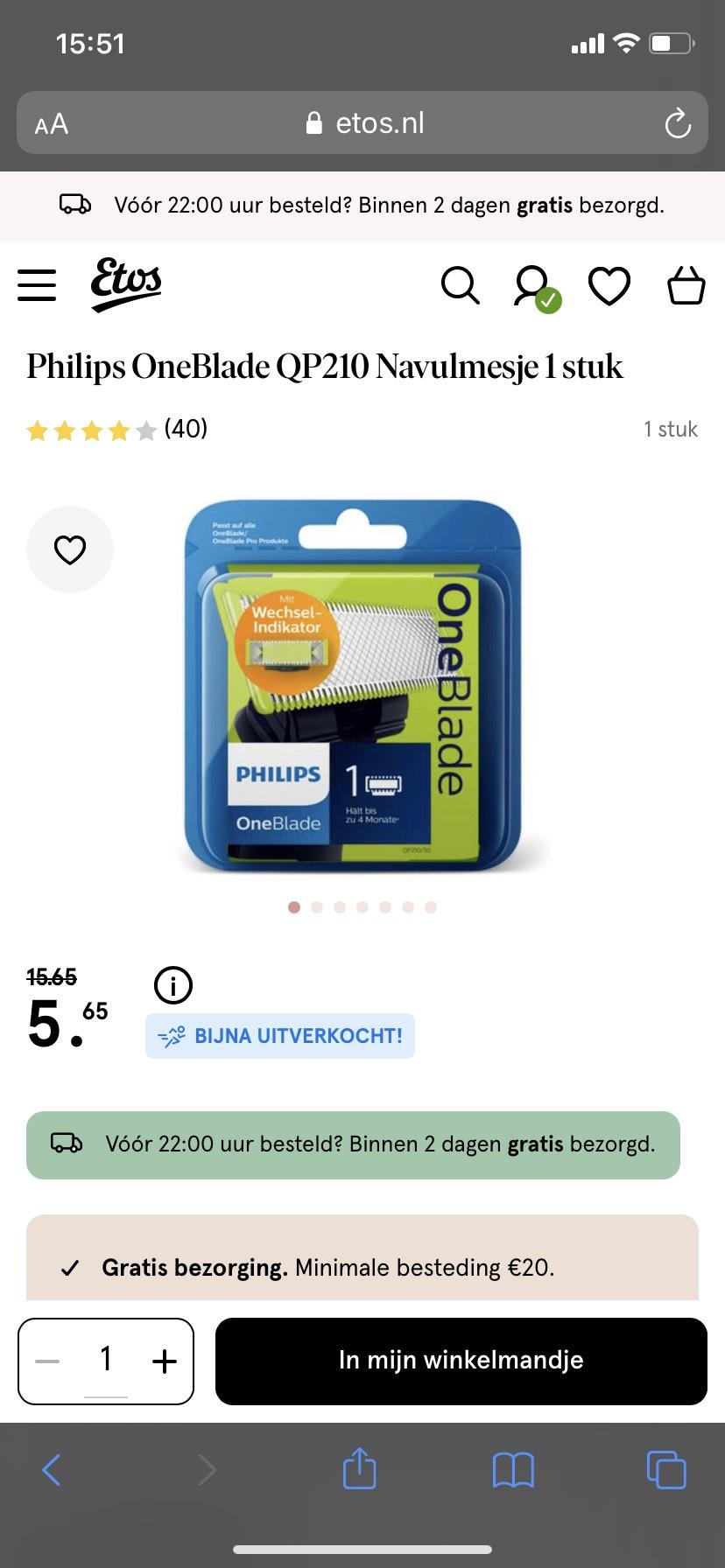 Philips OneBlade navul mesjes met 10 euro korting