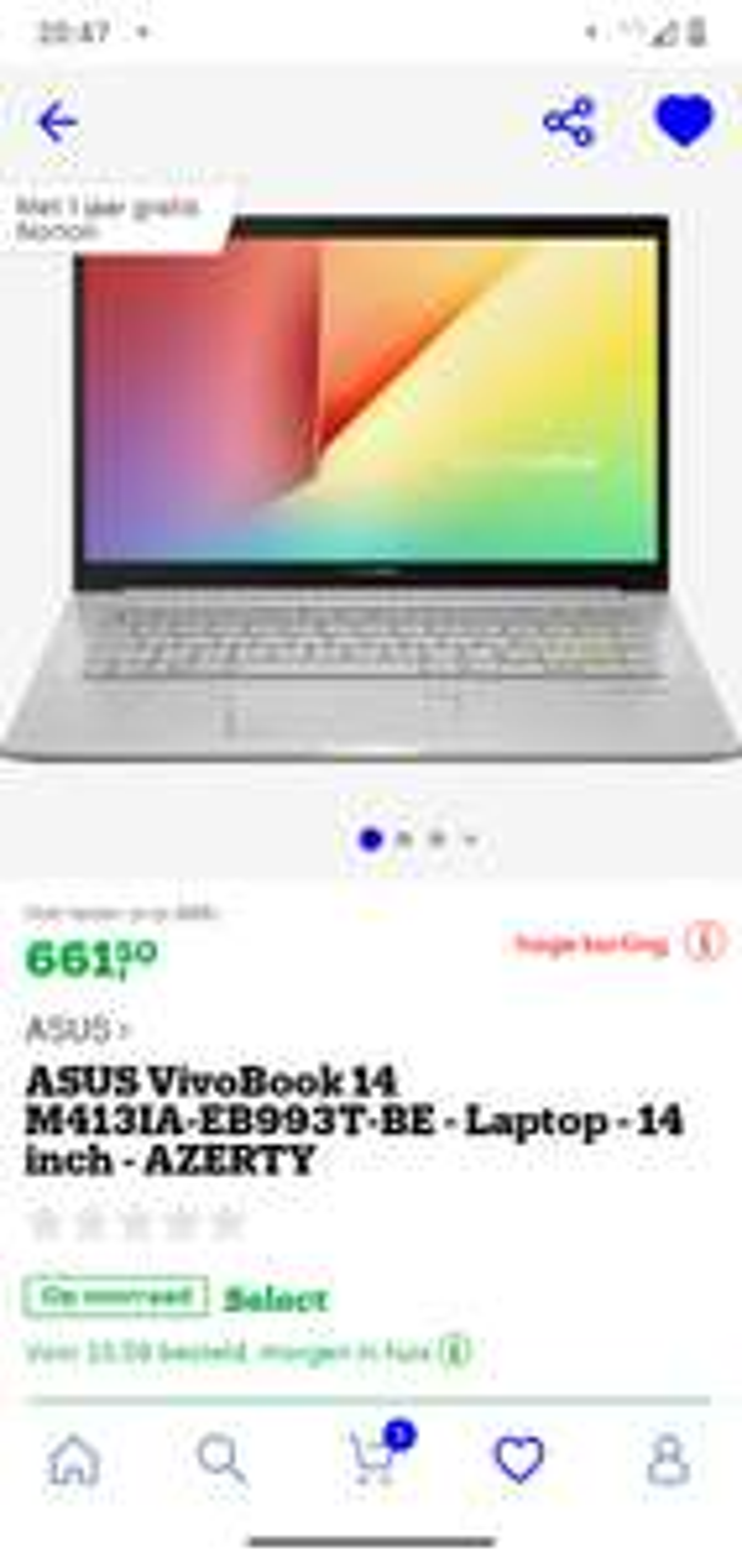(BE!) Asus vivobook 14 inch AZERTY €671,49 (€661,50 + €9,99 voor select)