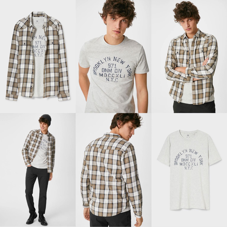 Set: T-shirt + overhemd -70% [was €19,99]