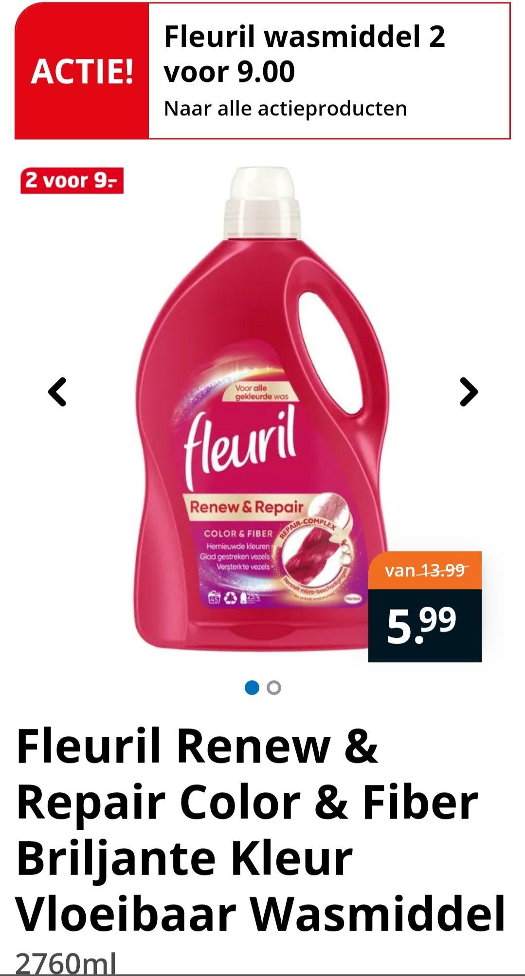 Fleuril wasmiddel 2 voor €9 @Trekpleister