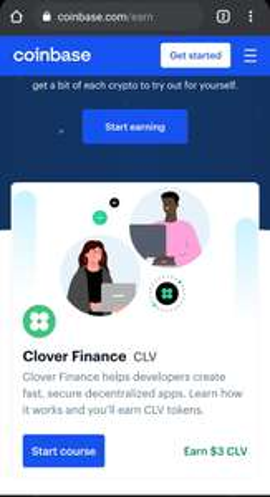 Gratis 3$ aan crypto bij coinbase CLV