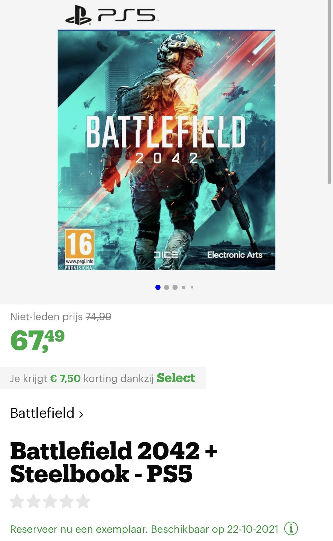 Select leden €7,50 korting op de pre-order Battlefield 2042 Special Edition op de PS5, PS4 & Xbox