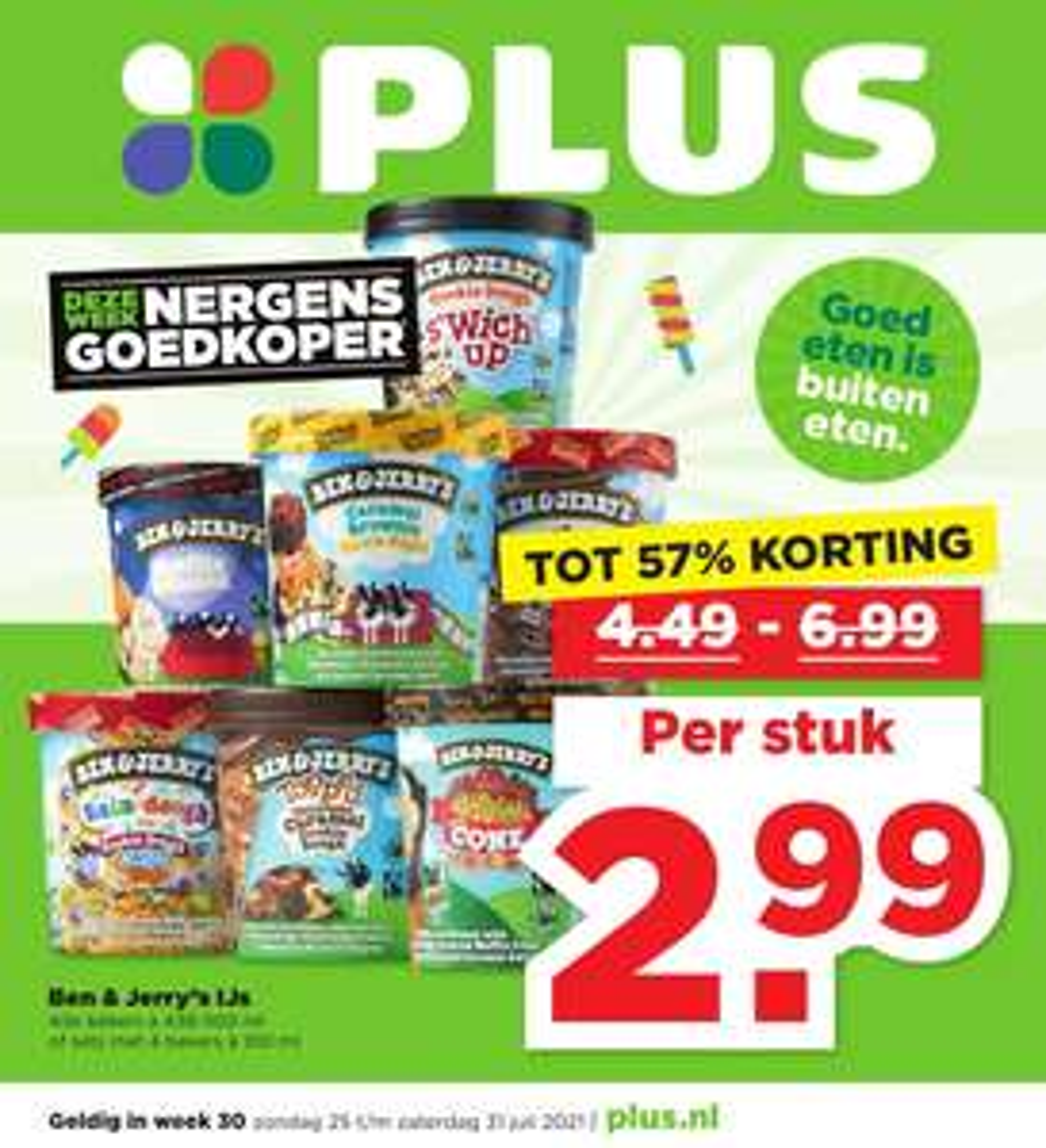 Ben & Jerry ijs tot 57% korting bij de Plus supermarkt