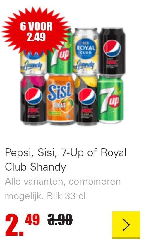 Dirk 6 blikjes Pepsi, Sisi, 7up en Royal club shandy voor 2.49