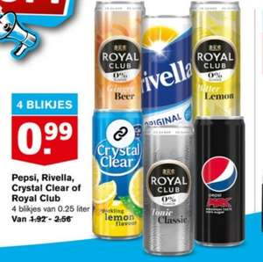 Hoogvliet Pepsi, Rivella, Crystal Clear of Royal Club 4 blikjes 99 cent