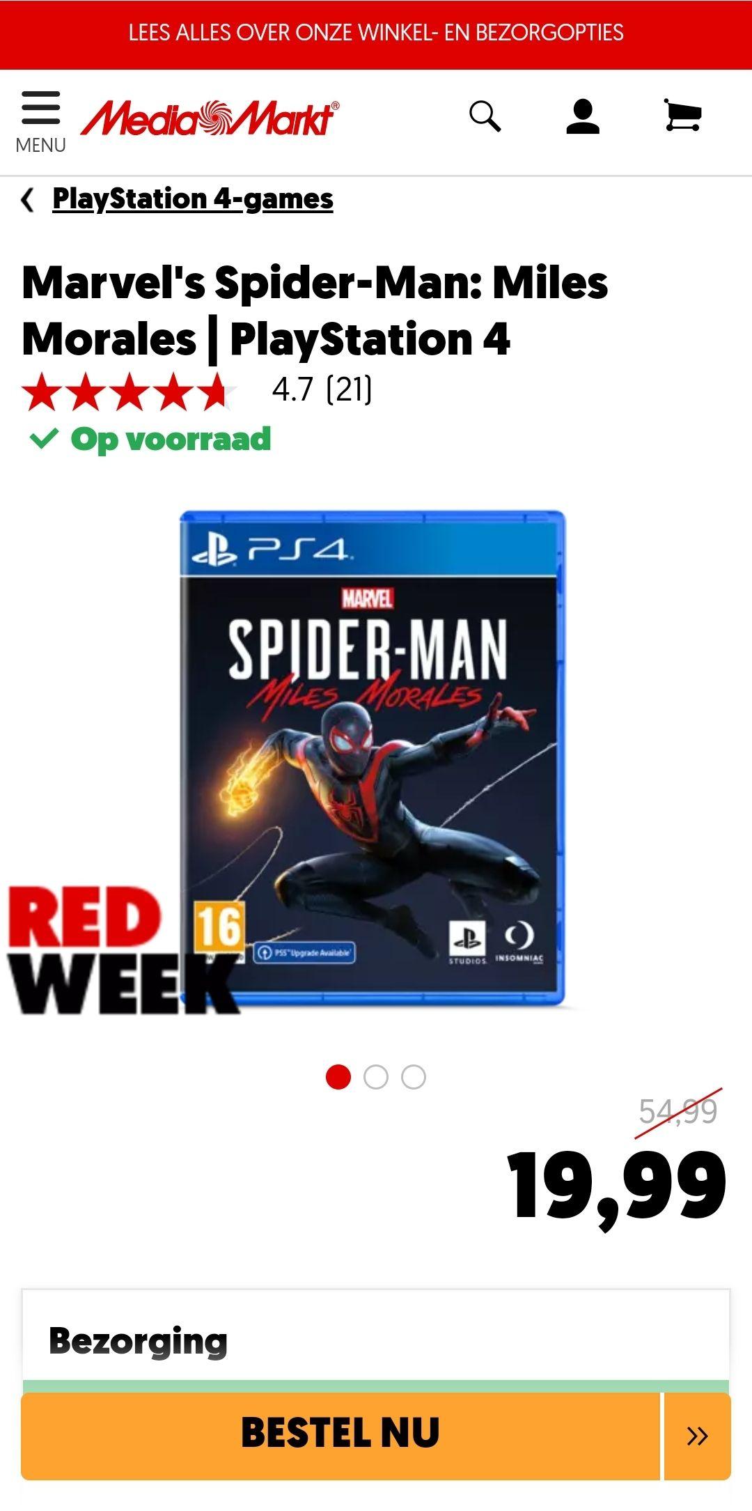 Marvel's Spider-Man: Miles Morales - PS4 (incl. PS5 upgrade) @ MediaMarkt